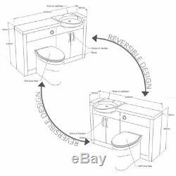 Complete bathroom suite L shaped bath RH toilet sink vanity unit tap white brown