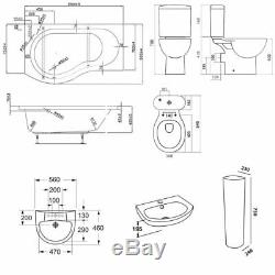 Duchy Hampstead Complete Bathroom Suite 1500mm x 900mm P-Shaped Shower Bath LH