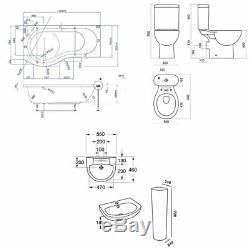 Duchy Hampstead Complete Bathroom Suite 1700mm x 900mm P-Shaped Shower Bath LH