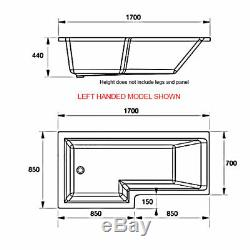 Duchy Kensington Complete L-Shaped Shower Bath 1700mm x 700mm/850mm Right Handed