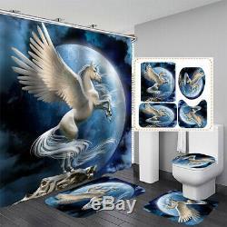 Horse Shape Bathroom Shower Curtain Waterproof Toilet Cover Mat Rug Set + 12 Hoo