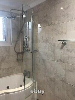 Hydrotherapy Shower Bath, Dee Right Hand P Shape, complete, Tap, Screen, Panels