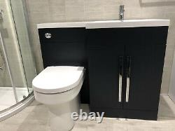 L-Shape Lili Bathroom Furniture Indigo Blue Complete With D-Shape Wc And Tap