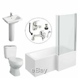 L Shape Right Hand Complete Bathroom Suite Toilet Vanity Unit Basin Bath Tap Set