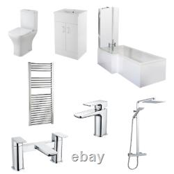 L Shaped Bath LH, Complete Bathroom Vanity, Shower, Rimless Toilet, Screen, Taps