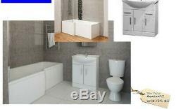 L Shaped Bath Suite Complete Set inc Vanity, Close Coupled Toilet & Taps etc