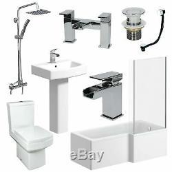 L Shaped Complete Bathroom Suite Close Coupled Toilet Taps Basin RH Bath Screen