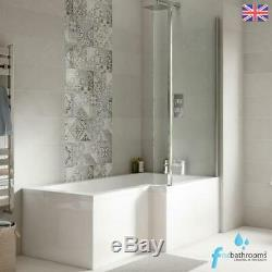 L Shaped Complete Bathroom Suite Shower Toilet Vanity Unit Basin Bath Taps Set