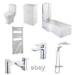 L Shaped RH, Complete Bathroom, Vanity, Shower, Rimless Toilet, Screen, Taps