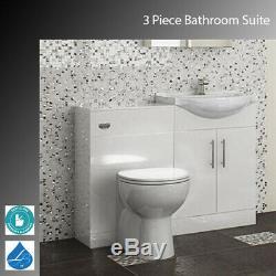 Left Hand L Shaped Complete Bathroom Suite Toilet Vanity Unit Basin Bath Set