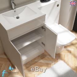 Modern Bathroom Suite L Shape 1700mm Bath Vanity Unit Basin Sink WC Toilet Taps