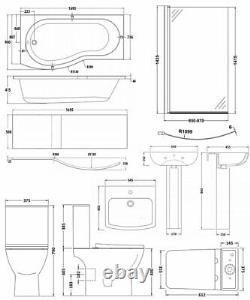 Nuie Ava Complete Bathroom Suite with B-Shaped Shower Bath 1700mm Left Handed