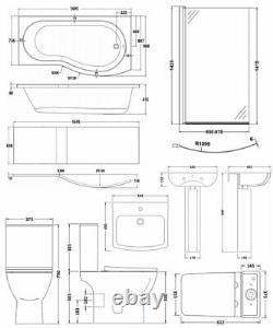 Nuie Ava Complete Bathroom Suite with B-Shaped Shower Bath 1700mm Right Handed