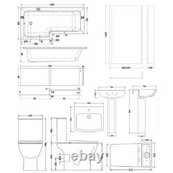 Nuie Ava Complete Bathroom Suite with L-Shaped Shower Bath 1700mm Left Handed