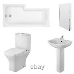 Nuie Ava Complete Bathroom Suite with L-Shaped Shower Bath 1700mm Right Handed