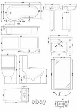 Nuie Ava Complete Bathroom Suite with P-Shaped Shower Bath 1700mm Left Handed