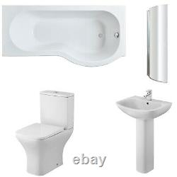 Nuie Ava Complete Bathroom Suite with P-Shaped Shower Bath 1700mm Right Handed
