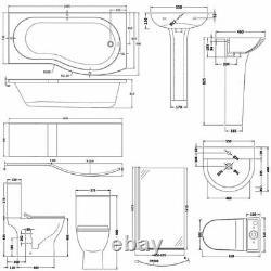 Nuie Freya Complete Bathroom Suite B-Shaped Shower Bath 1700mm RH