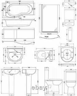 Nuie Lawton Complete Bathroom Suite B-Shaped Shower Bath 1700mm LH