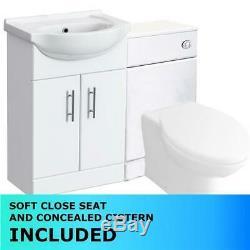 P Shape Bath 1500 Complete Bathroom Suite + Vanity Unit + Concealed WC + WF Tap