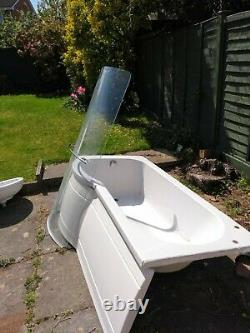 P Shape Bath complete with curved shower screen and bath panel (1.68M x 0.75M)