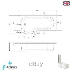 P Shape Left Hand Complete Bathroom Suite Toilet Vanity Unit Basin Bath Tap Set