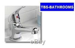 P Shaped Bath Suite Complete Set inc Vanity Unit, Close Coupled Toilet & Taps