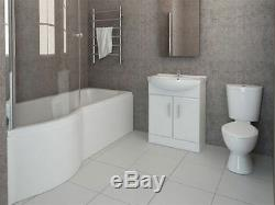 P Shaped Bathroom Suite Complete, Vanity, Close Coupled Toilet, Taps & Wastes