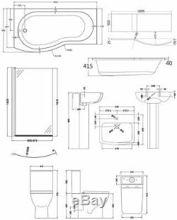 Premier Ava Complete Bathroom Suite with B-Shaped Shower Bath 1700mm Left Hand