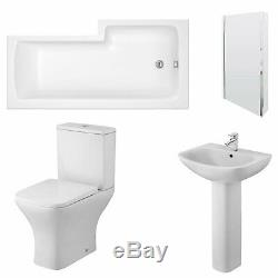 Premier Ava Complete Bathroom Suite with L-Shaped Shower Bath 1700mm Left Hand