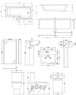Premier Ava Complete Bathroom Suite with L-Shaped Shower Bath 1700mm Right Han