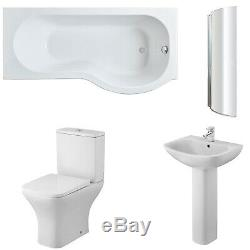 Premier Ava Complete Bathroom Suite with P-Shaped Shower Bath 1700mm Right Han