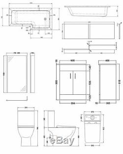 Premier Ava Complete Furniture Suite with 600mm Vanity Unit and L-Shaped Shower
