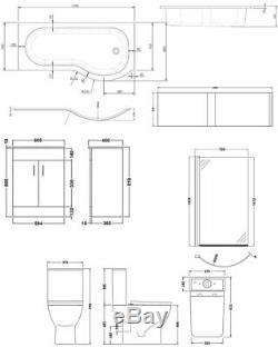 Premier Ava Complete Furniture Suite with 600mm Vanity Unit and P-Shaped Shower