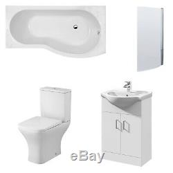 Premier Ava Complete Furniture Suite with Vanity Unit and B-Shaped Shower Bath 1