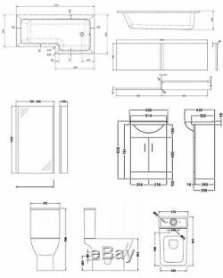 Premier Ava Complete Furniture Suite with Vanity Unit and L-Shaped Shower Bath 1