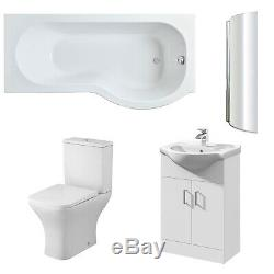 Premier Ava Complete Furniture Suite with Vanity Unit and P-Shaped Shower Bath 1