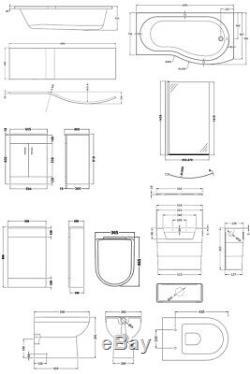 Premier Eden Complete Furniture Bathroom Suite with B-Shaped Shower Bath 1700mm