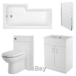 Premier Eden Complete Furniture Bathroom Suite with L-Shaped Shower Bath 1700mm