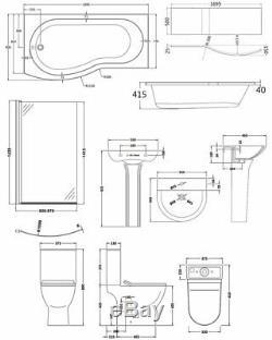 Premier Freya Complete Bathroom Suite with B-Shaped Shower Bath 1700mm Left Ha