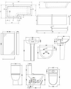 Premier Freya Complete Bathroom Suite with L-Shaped Shower Bath 1700mm Left Ha