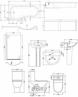 Premier Freya Complete Bathroom Suite with P-Shaped Shower Bath 1700mm Left Ha