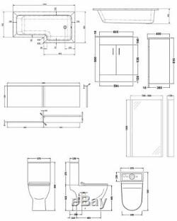 Premier Freya Complete Furniture Suite with 600mm Vanity Unit and L-Shaped Showe
