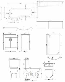 Premier Freya Complete Furniture Suite with 600mm Vanity Unit and P-Shaped Showe