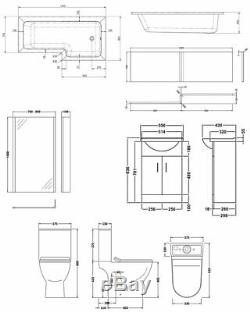 Premier Freya Complete Furniture Suite with Vanity Unit and L-Shaped Shower Bath