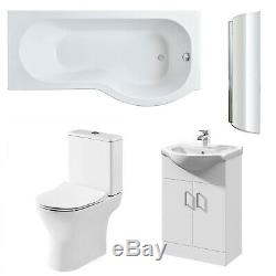 Premier Freya Complete Furniture Suite with Vanity Unit and P-Shaped Shower Bath