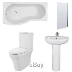 Premier Ivo Complete Bathroom Suite with B-Shaped Shower Bath 1700mm Left Hand