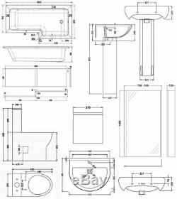 Premier Ivo Complete Bathroom Suite with L-Shaped Shower Bath 1700mm Right Han