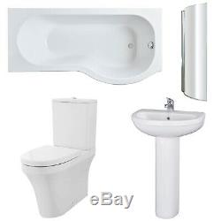 Premier Ivo Complete Bathroom Suite with P-Shaped Shower Bath 1700mm Right Han