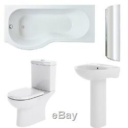 Premier Lawton Complete Bathroom Suite with P-Shaped Shower Bath 1700mm Left H